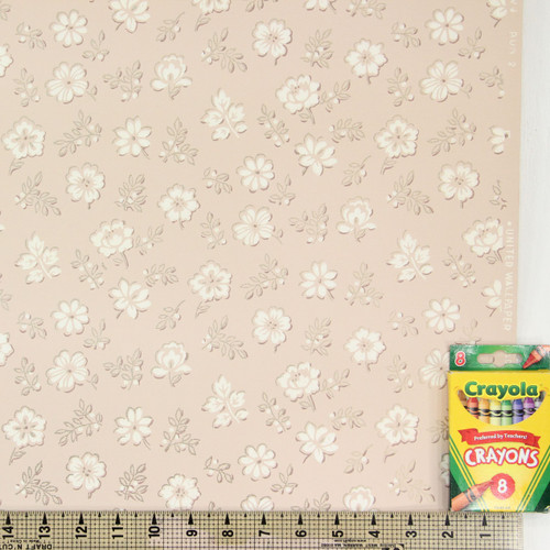 1950s Vintage Wallpaper White Flowers on Pink