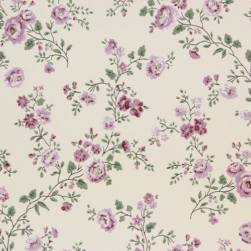 1950s Vintage Wallpaper Thomas Strahan Purple Flowers