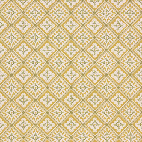 1950s Vintage Wallpaper Thomas Strahan Yellow Green Geometric