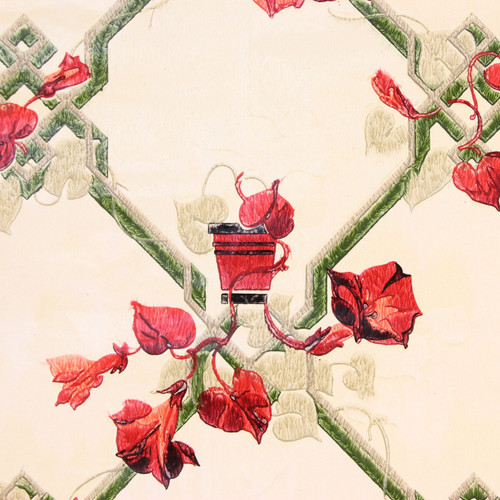 1930s Vintage Wallpaper Red Ivy Lattice