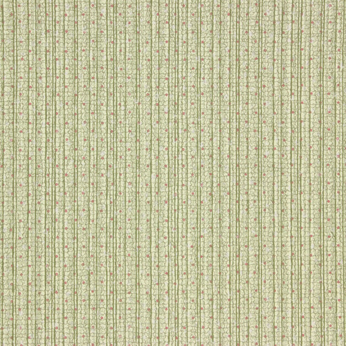1940s Vintage Wallpaper Green Stripe Red Dot Weave