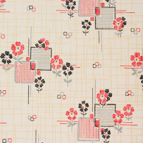 1930s Vintage Wallpaper Red Black Tiles