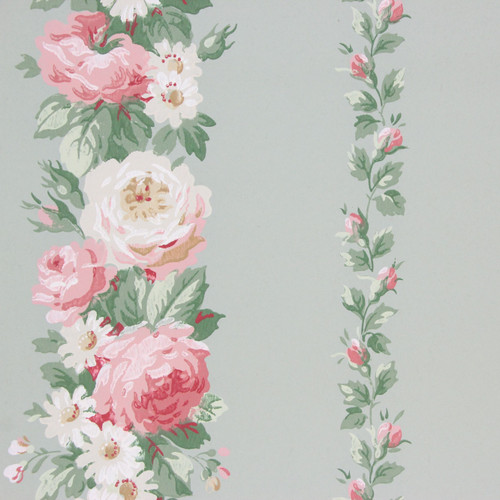 1940s Vintage Wallpaper Pink Roses on Green