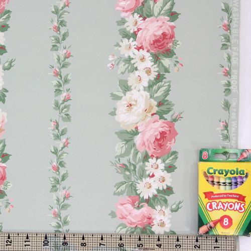 1940s Vintage Wallpaper Pink Roses on Green