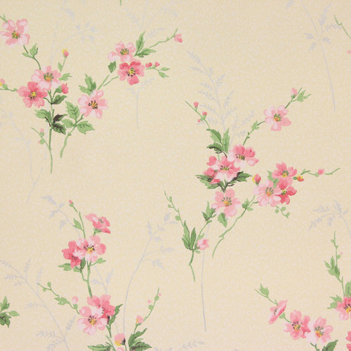 1940s Vintage Wallpaper Pink Flowers on Yellow