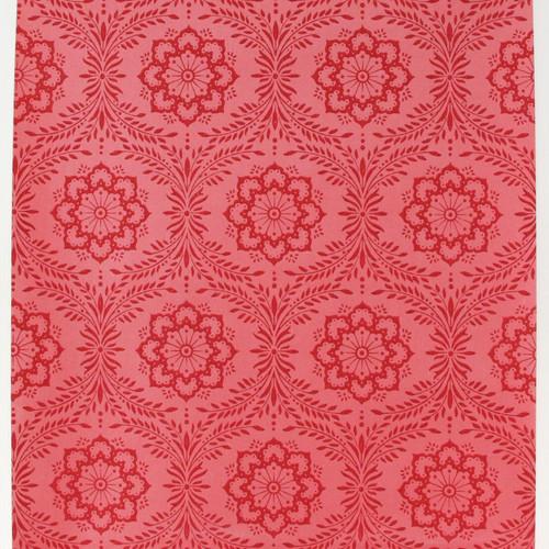 1950s Vintage Wallpaper Thomas Strahan Red Floral Geometric