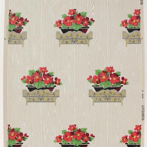 1940s Vintage Wallpaper Geraniums on Wood Grain