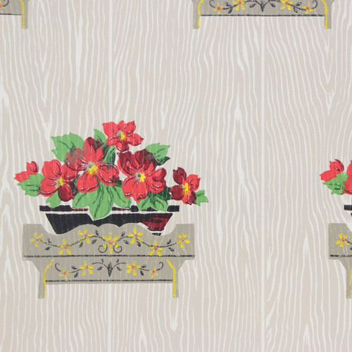 1940s Vintage Wallpaper Geraniums on Wood Grain