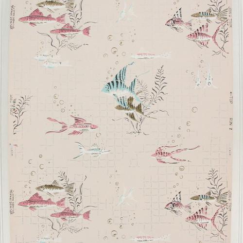 1940s Vintage Wallpaper Pink Blue Fish on Pink