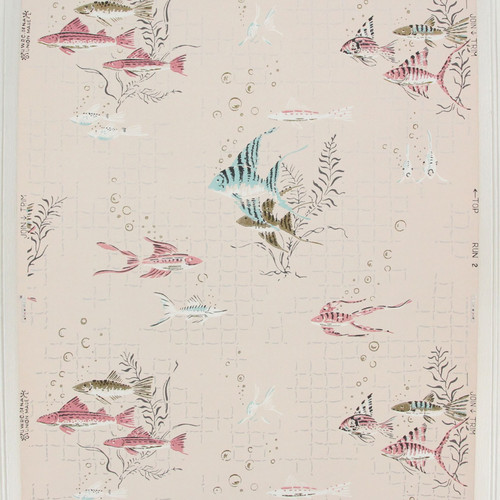 1940s Vintage Wallpaper Pink Blue Fish on Pink