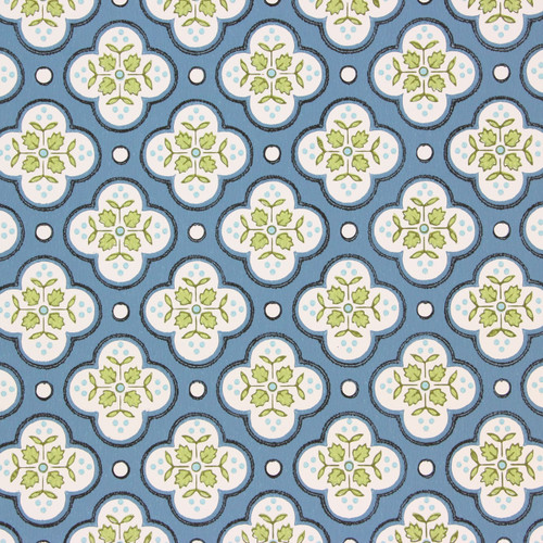 1950s Vintage Wallpaper Thomas Strahan Green Blue Geometric