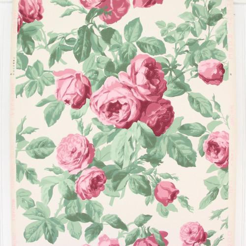 1940s Vintage Wallpaper Pink Rose Bouquets