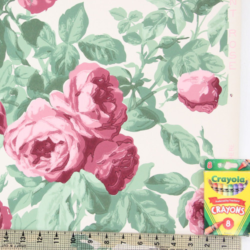 1940s Vintage Wallpaper Pink Rose Bouquets