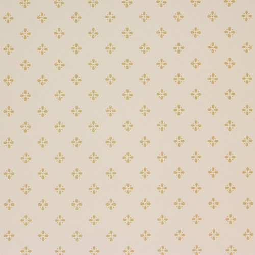1950s Vintage Wallpaper Thomas Strahan Yellow Gold Geometric on White