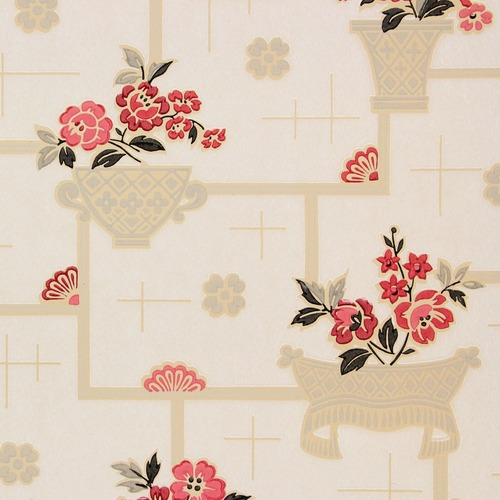 1930s Vintage Wallpaper Red Black Flowers on White Tiles
