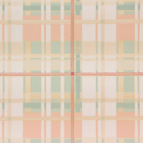 1930s Vintage Wallpaper Peach Green Plaid