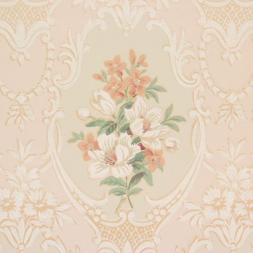 1930s Vintage Wallpaper Peach White Bouquets