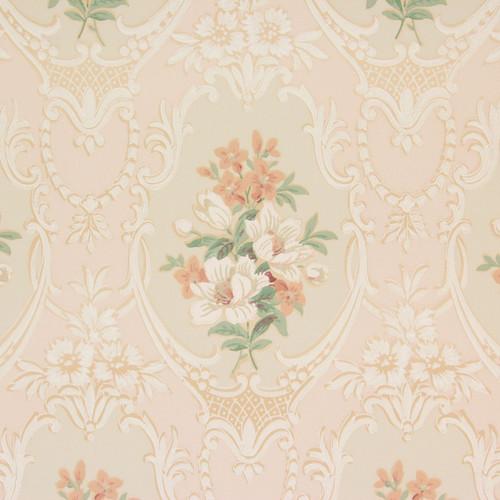 1930s Vintage Wallpaper Peach White Bouquets