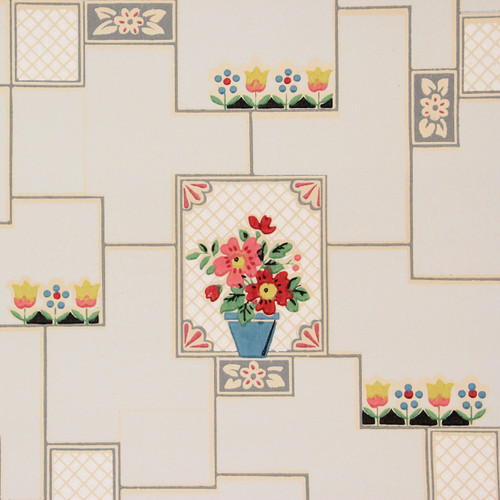 1930s Vintage Wallpaper Flower Pots on Pale Blue Tiles