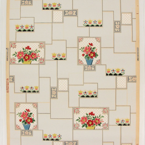 1930s Vintage Wallpaper Flower Pots on Pale Blue Tiles