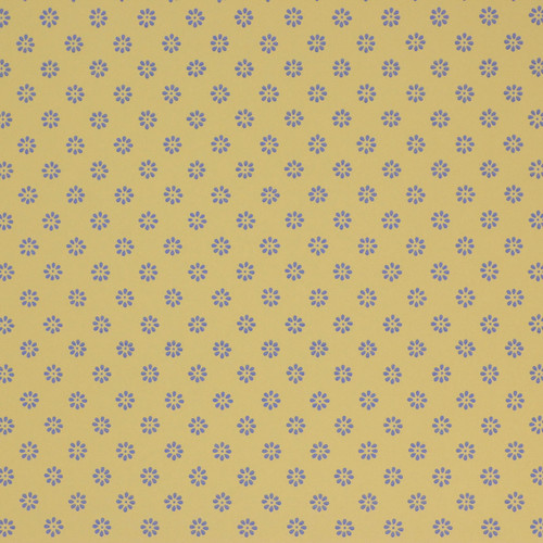 1950s Vintage Wallpaper Thomas Strahan Blue Floral Geometric on Yellow Gold