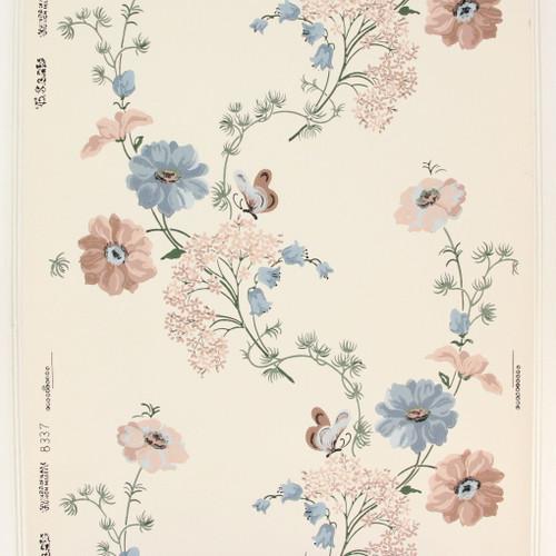1950s Vintage Wallpaper Thomas Strahan Pink Blue Flowers Butterflies