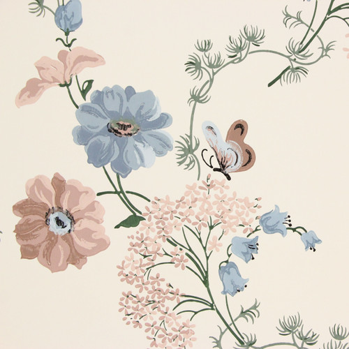 1950s Vintage Wallpaper Thomas Strahan Pink Blue Flowers Butterflies