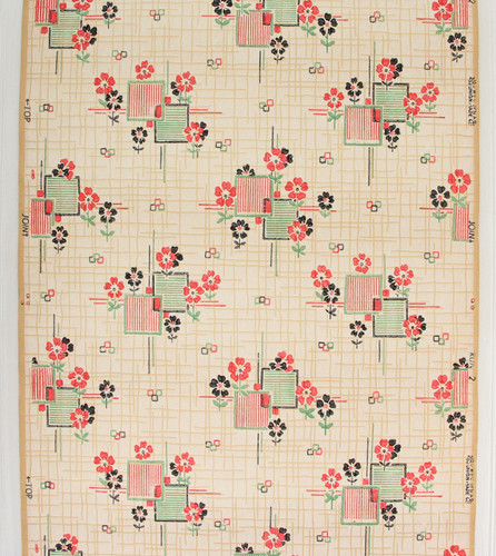 1930s Vintage Wallpaper Red Black Flowers on Green Tiles