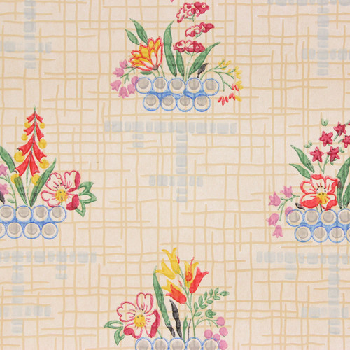 1930s Vintage Wallpaper Red Yellow Flowers on Beige