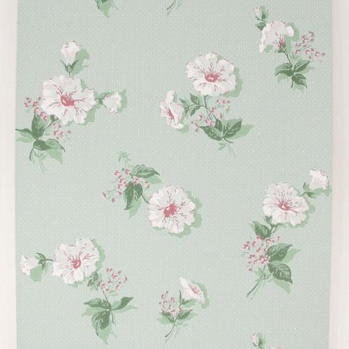 1950s Vintage Wallpaper White Flowers on Green