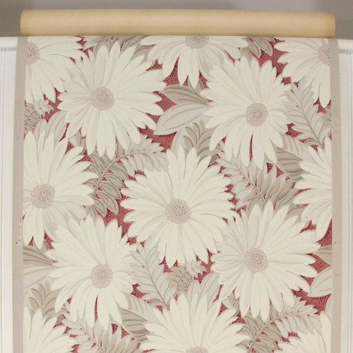 1940s Vintage Wallpaper White Gray Flowers on Maroon