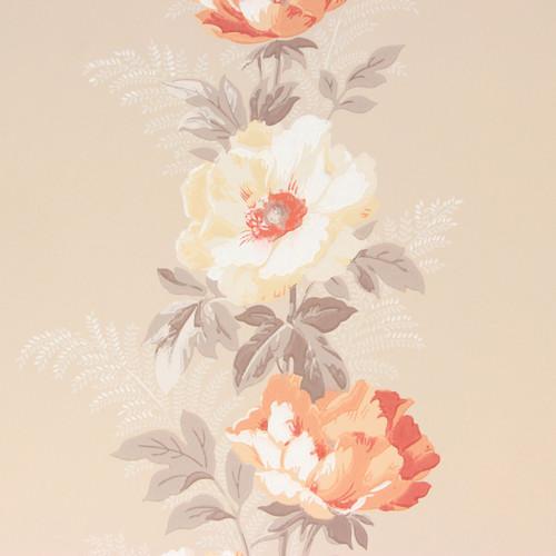 1940s Vintage Wallpaper White Orange White Flowers on Peach