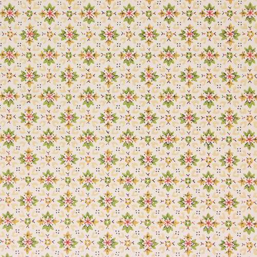 1950s Vintage Wallpaper Green Red Gold Geometric