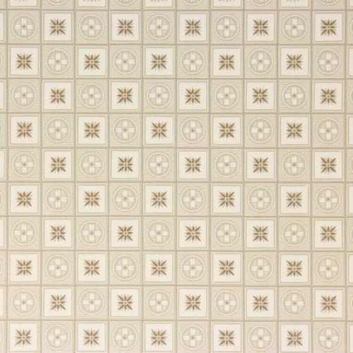 1950s Vintage Wallpaper Brown White Geometric on Beige