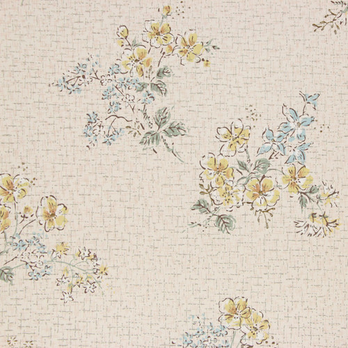 1950s Vintage Wallpaper Blue Yellow Flowers on White