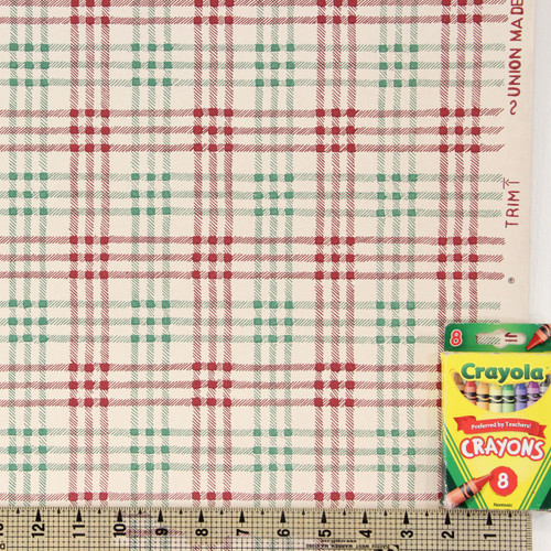 1950s Vintage Wallpaper Red Green Plaid on White