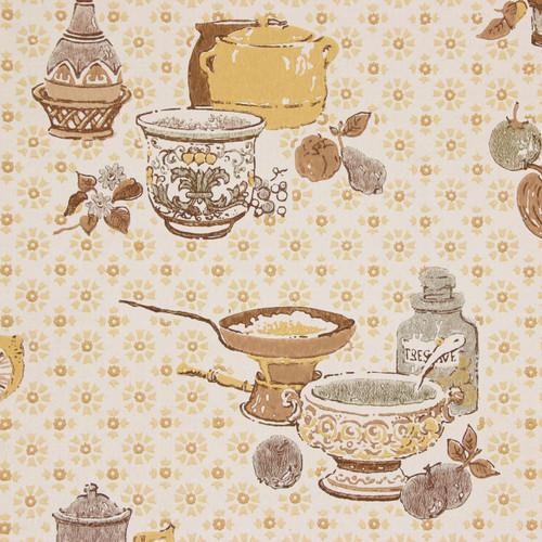 1960s Vintage Wallpaper Brown Yellow Kitchen