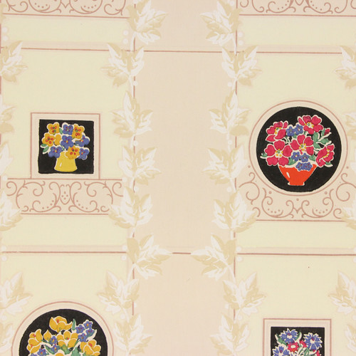 1940s Vintage Wallpaper Bright Flowers on Tiles