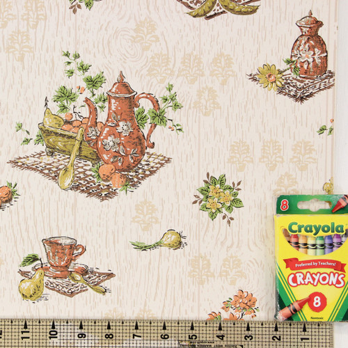 1960s Vintage Wallpaper Avocado Green Brown Kitchen