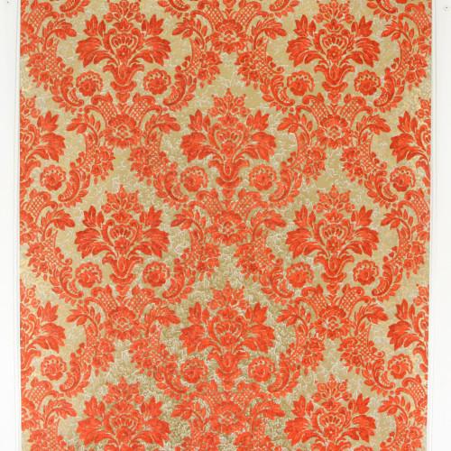 1970s Vintage Wallpaper Retro Orange Flock on Gold