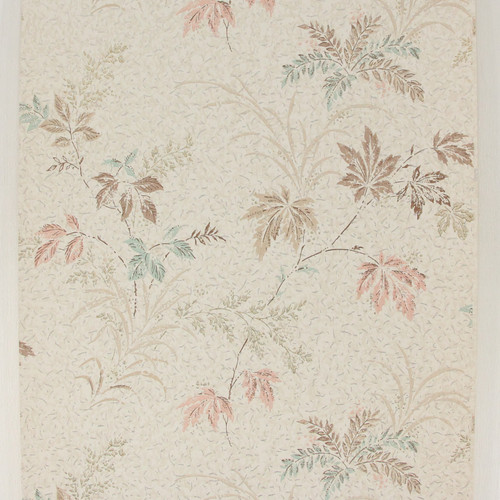 1960s Vintage Wallpaper Pink Blue Leaves on White