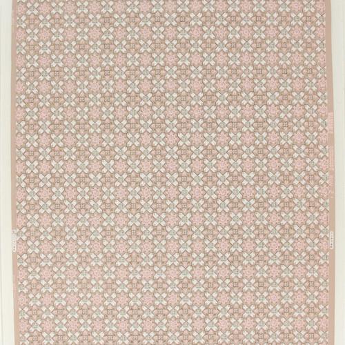 1950s Vintage Wallpaper White Blue Geometric on Pink