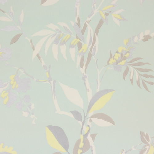 1970s Vintage Wallpaper Yellow White Tropical on Green