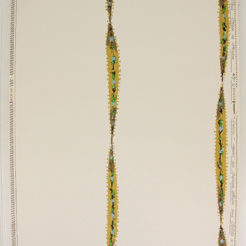 1950s Vintage Wallpaper Yellow Gold Ribbon--Made in France