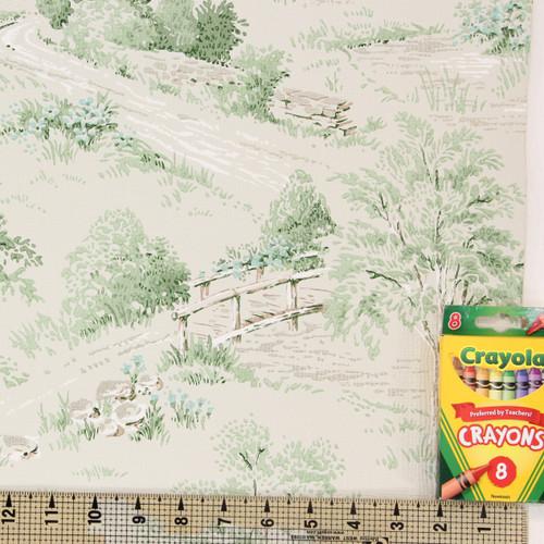 1960s Vintage Wallpaper Green Scenic Trees Bridge
