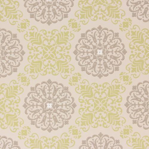 1950s Vintage Wallpaper Gray Yellow Geometric on Beige