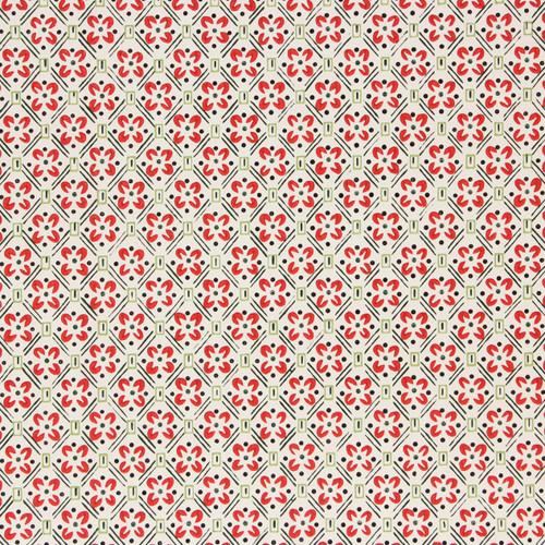 1930s Vintage Wallpaper Red White Green Geometric