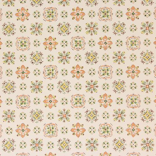 1950s Vintage Wallpaper Orange Green Yellow Geometric