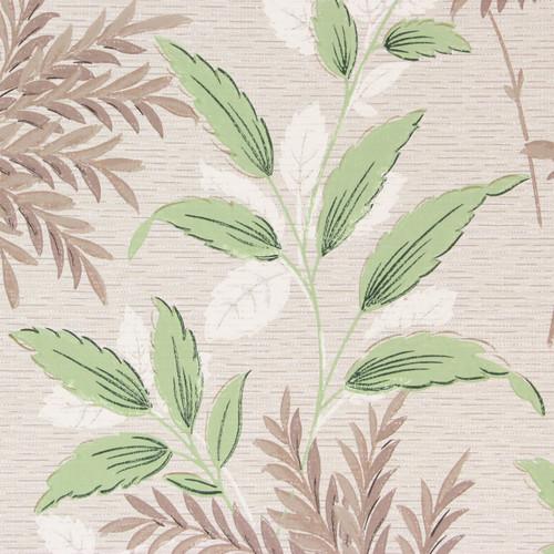 1940s Vintage Wallpaper Green Brown Leaves