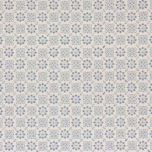 1960s Vintage Wallpaper Blue Geometric on White